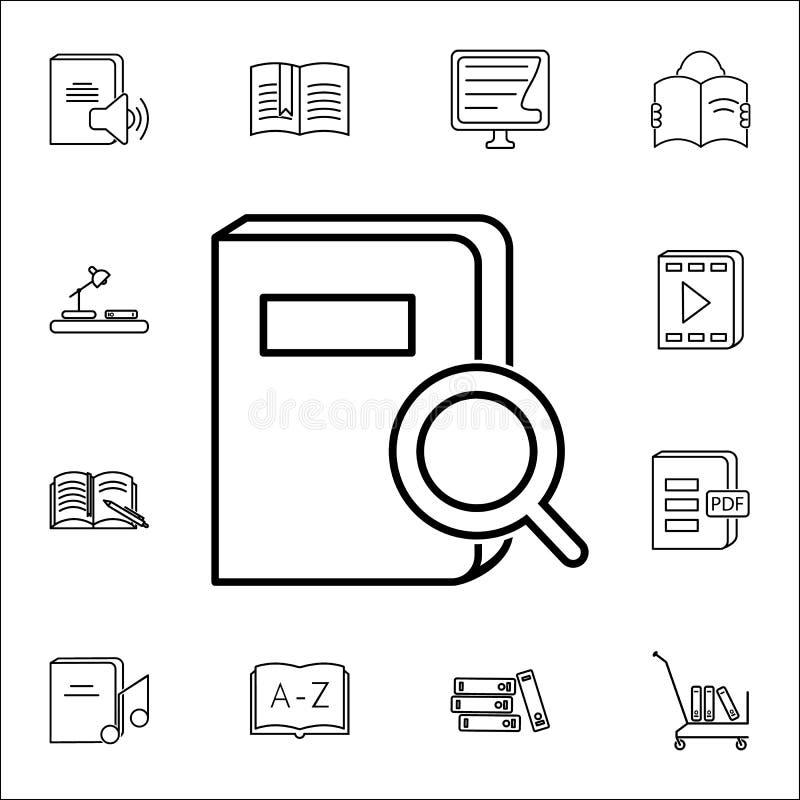 zoek naar een boekpictogram Boeken en tijdschriften voor Web wordt geplaatst dat en mobiel pictogrammenalgemeen begrip vector illustratie