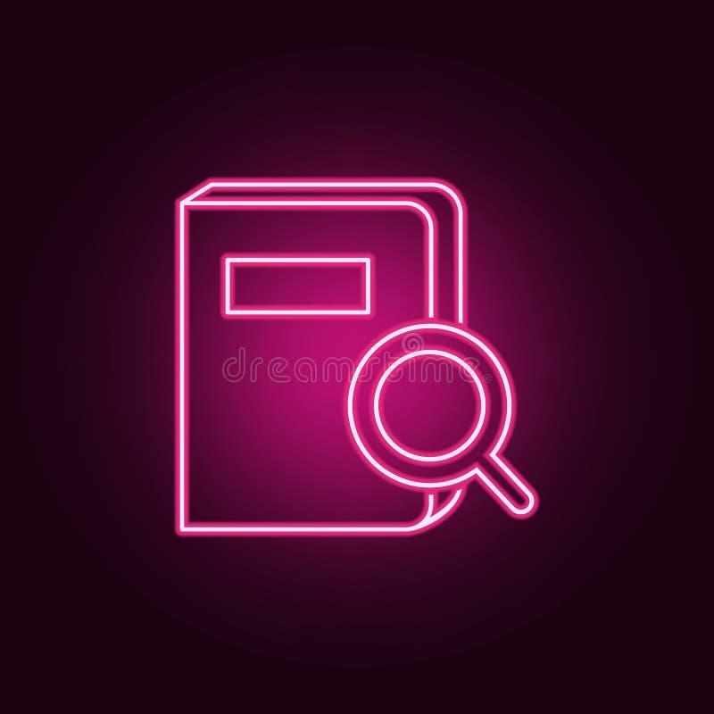 zoek naar een boekpictogram Elementen van Boeken en tijdschriften in de pictogrammen van de neonstijl Eenvoudig pictogram voor we royalty-vrije illustratie