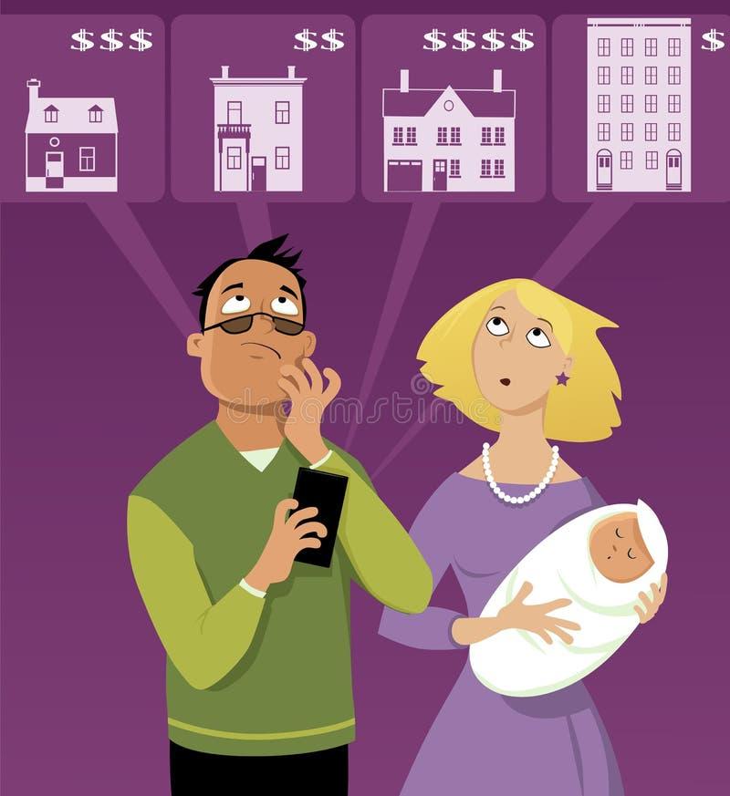 Zoek naar een huis vector illustratie