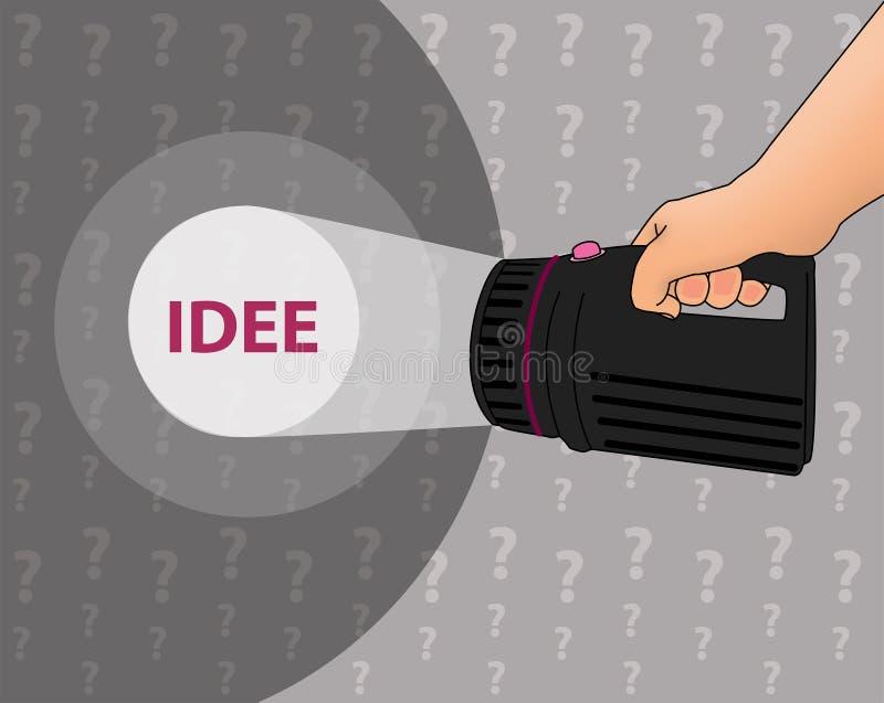 Zoek naar een idee vector illustratie