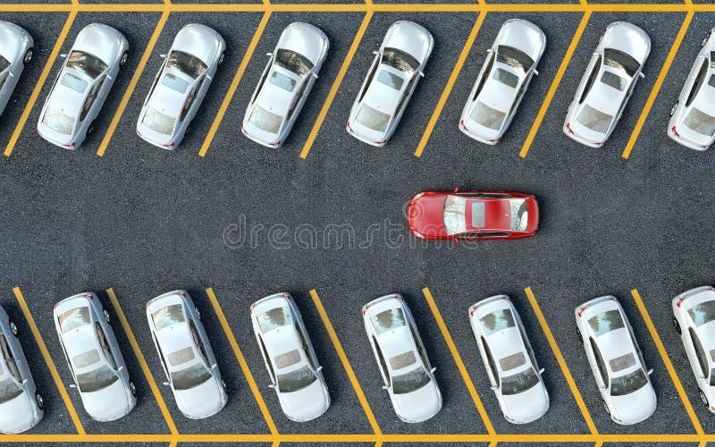 Zoek naar een parkeerplaats Vele geparkeerde auto's stock illustratie