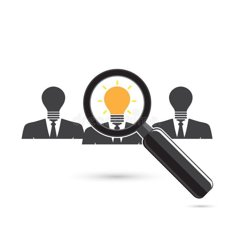 Zoek naar een werknemer Het zoeken van Positieve denker Kijkend FO vector illustratie