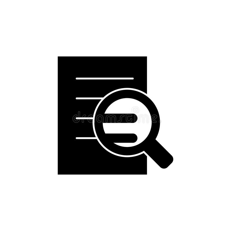 zoek naar fouten in het documentpictogram Element van Webpictogram voor mobiel concept en Web apps Geïsoleerd onderzoek naar fout stock illustratie