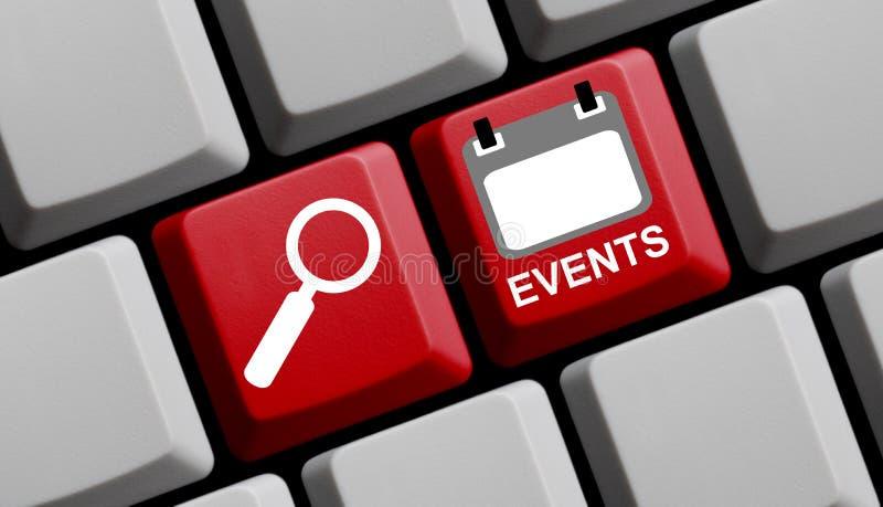 Zoek naar Gebeurtenissen online - Computertoetsenbord vector illustratie