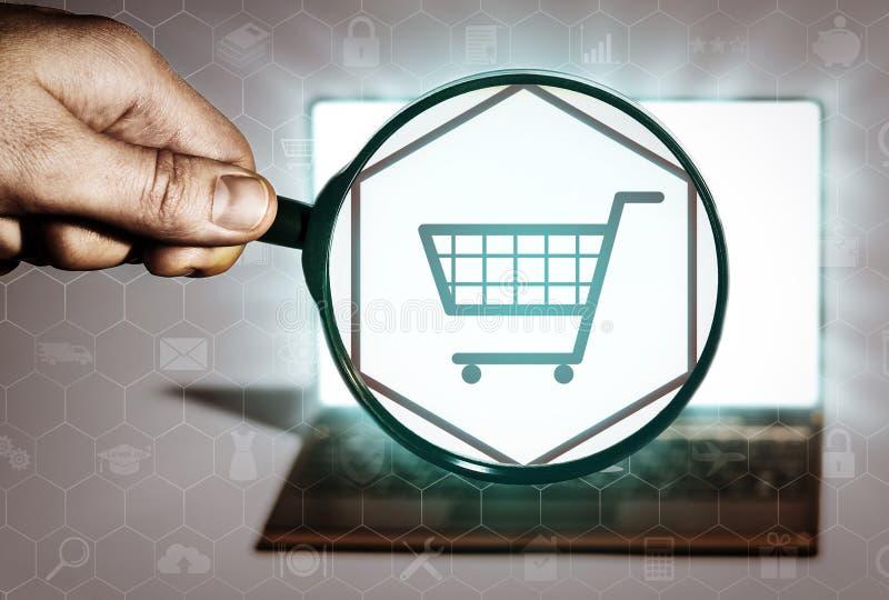 Zoek naar goederen die, online, opslag, koopt winkelen stock illustratie