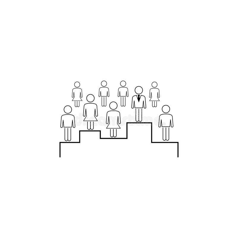 zoek naar het juiste werknemerspictogram Element van bedrijfspictogram voor mobiel concept en Web apps Dun lijnonderzoek naar jui vector illustratie