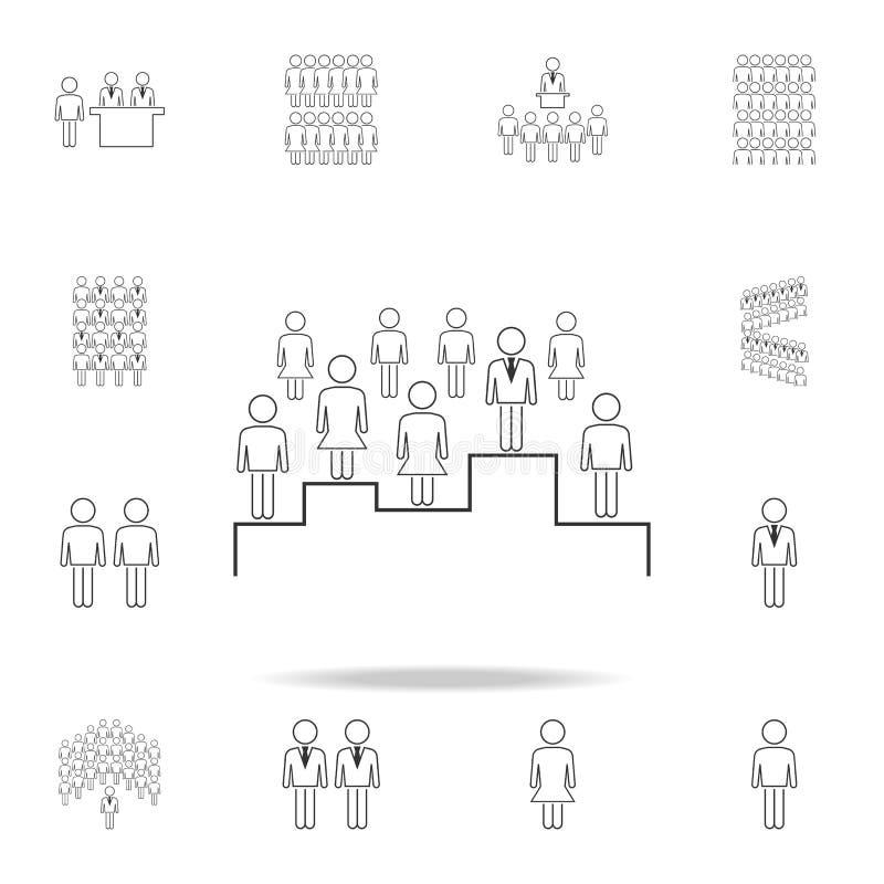 zoek naar het juiste werknemerspictogram Gedetailleerde reeks mensen in het werkpictogrammen Premie grafisch ontwerp Één van de i royalty-vrije illustratie