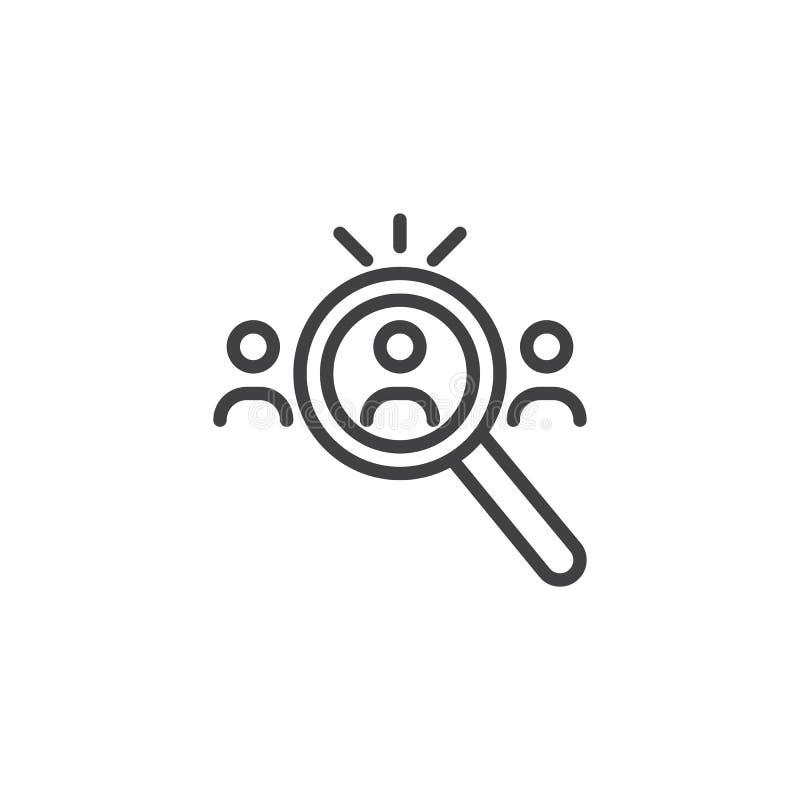 Zoek naar het pictogram van het Kandidatenoverzicht vector illustratie