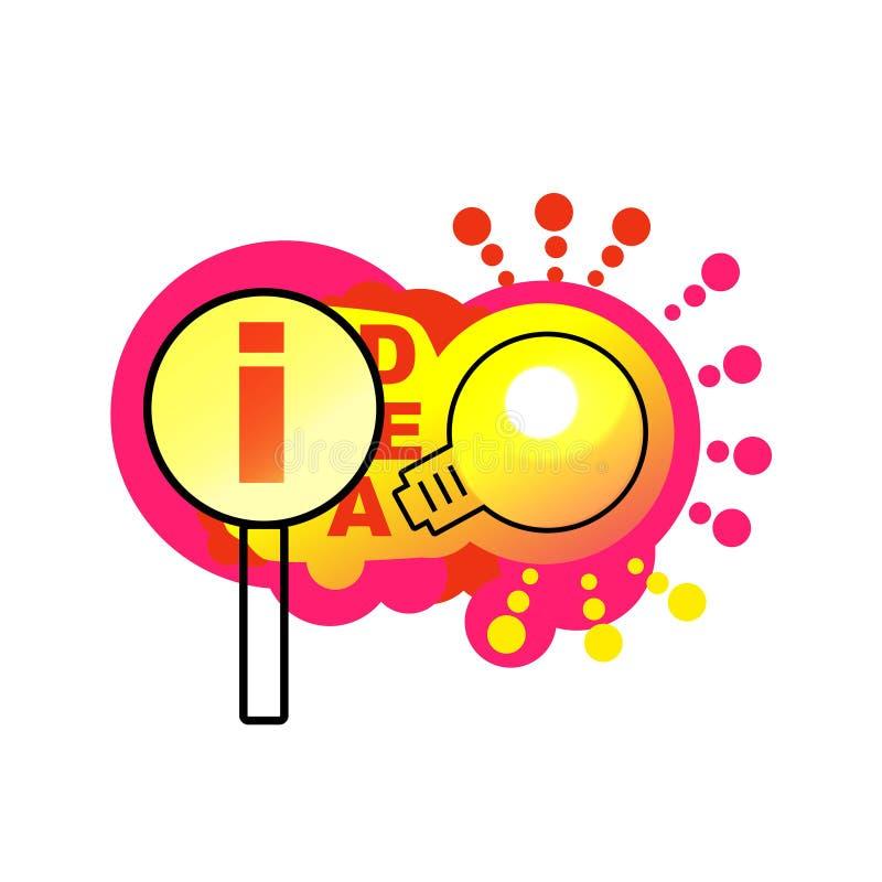 Zoek naar ideeën Helder vectorbanneridee met lamp stock illustratie