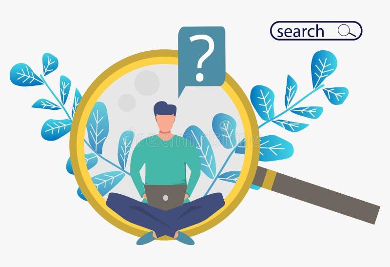 Zoek naar informatie Metafoorbanner met een mensenzitting op reusachtige meer magnifier met een computer vector illustratie