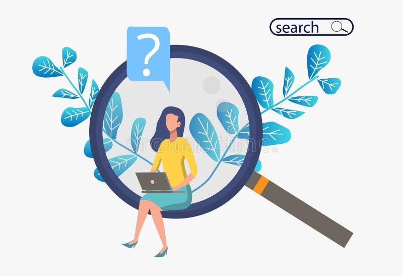 Zoek naar informatie Metafoorbanner met een vrouwenzitting op reusachtige meer magnifier met een computer stock illustratie