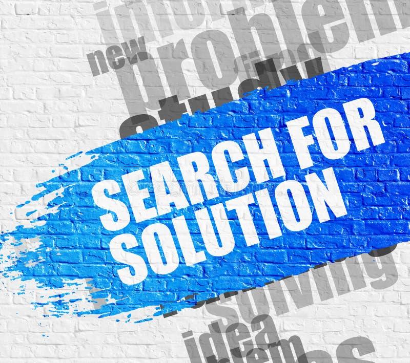 Zoek naar Oplossing op Brickwall stock illustratie
