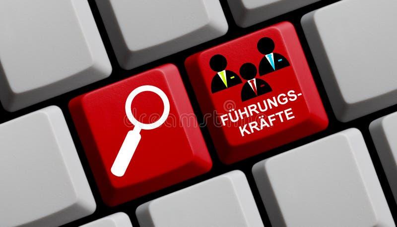 Zoek naar stafmedewerkers online het Duits vector illustratie