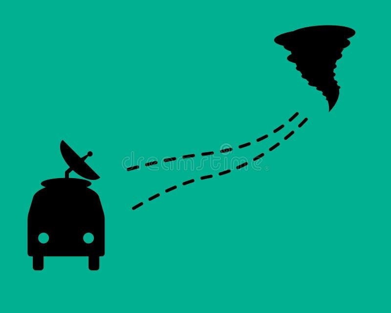 Zoek naar tornado's Een auto met een gestippelde lijn en een tornado Vlak Ontwerp stock illustratie