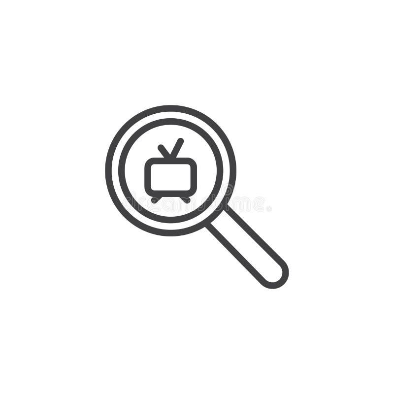Zoek naar TV-het pictogram van het kanaaloverzicht stock illustratie