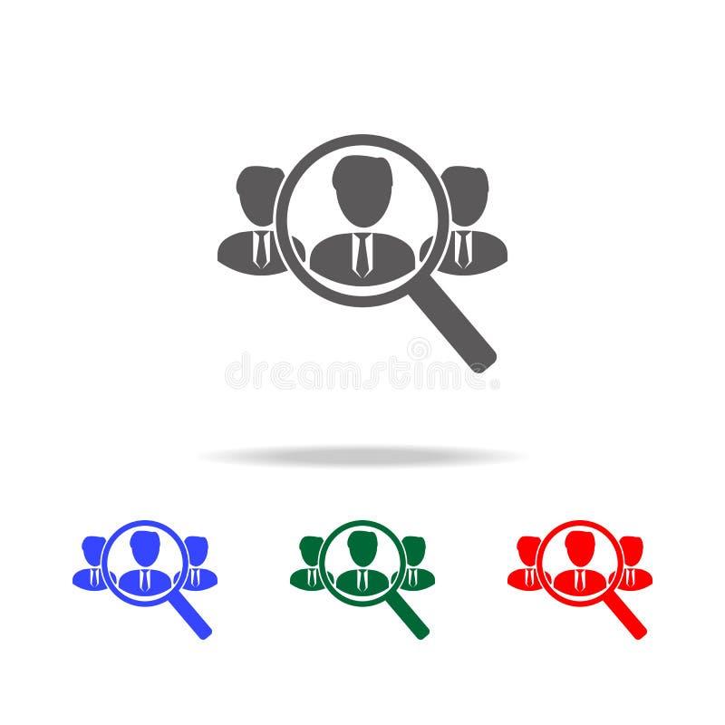 Zoek naar werknemers en baanpictogram Elementen van menselijke hulpbron in multi gekleurde pictogrammen Zaken, menselijk middelte vector illustratie