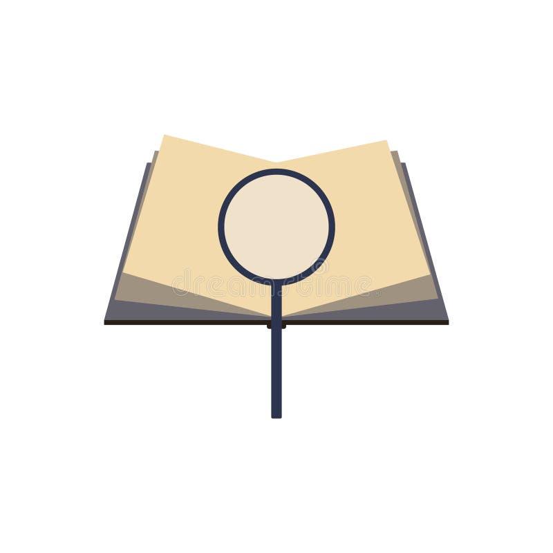 zoek naar zinnen in de pagina's van een boek stock illustratie