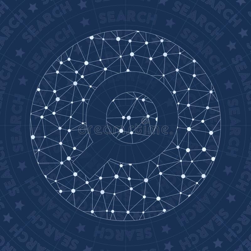 Zoek omcirkeld netwerksymbool royalty-vrije illustratie
