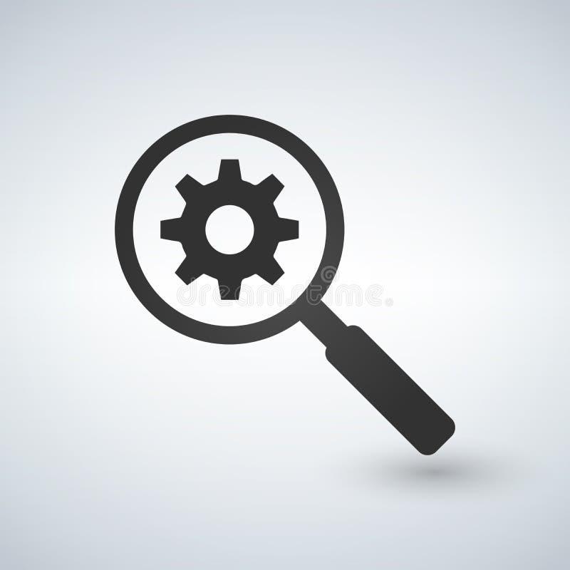 Zoek past Hulpmiddelpictogram aan Illustratie die op witte achtergrond wordt geïsoleerd= vector illustratie