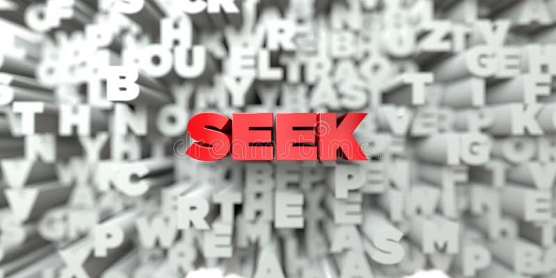 ZOEK - Rode tekst op typografieachtergrond - 3D teruggegeven royalty vrij voorraadbeeld stock illustratie