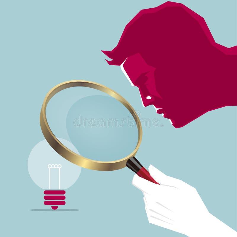Zoek uiterst nauwgezette ideeën gebruikend een vergrootglas stock illustratie