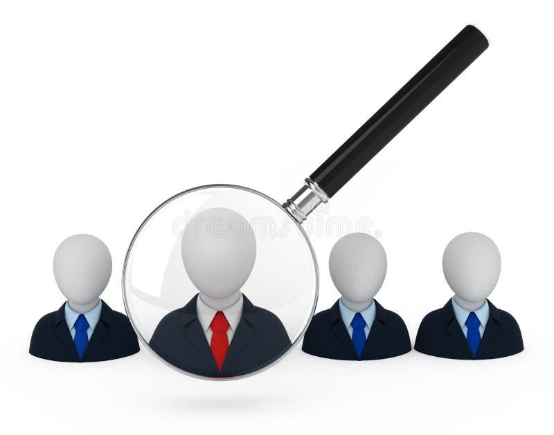 Zoek van de werknemer. vector illustratie
