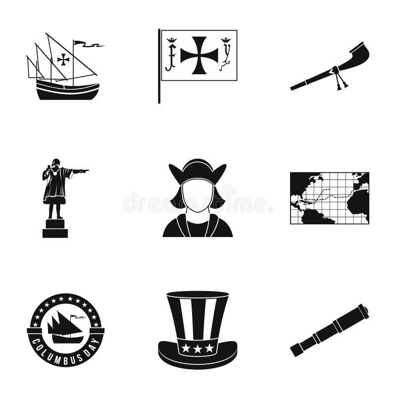 Zoek van geplaatste vastelandspictogrammen, eenvoudige stijl stock illustratie