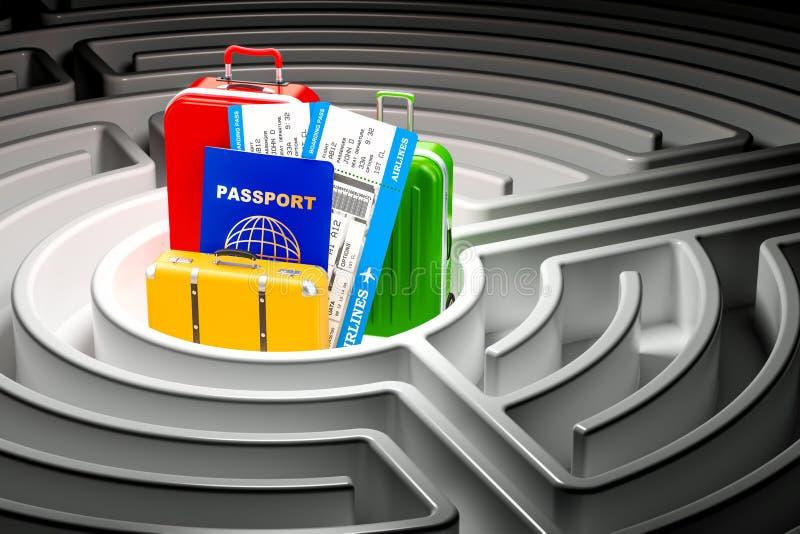 Zoek van reisconcept binnen labyrintlabyrint het 3d teruggeven vector illustratie