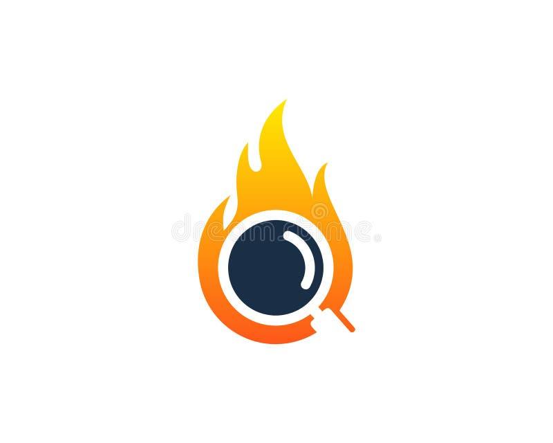Zoek vindt het Pictogram Logo Design Element van de Brandvlam stock illustratie