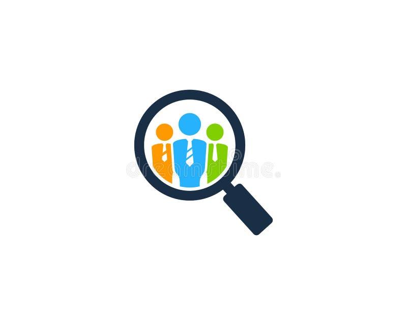 Zoek vindt Job Icon Logo Design Element vector illustratie