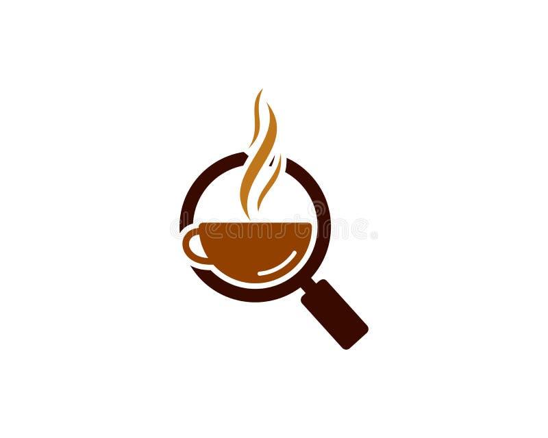 Zoek vindt Koffiepictogram Logo Design Element royalty-vrije illustratie