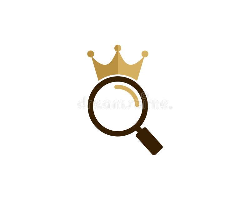 Zoek vindt Koning Icon Logo Design Element vector illustratie