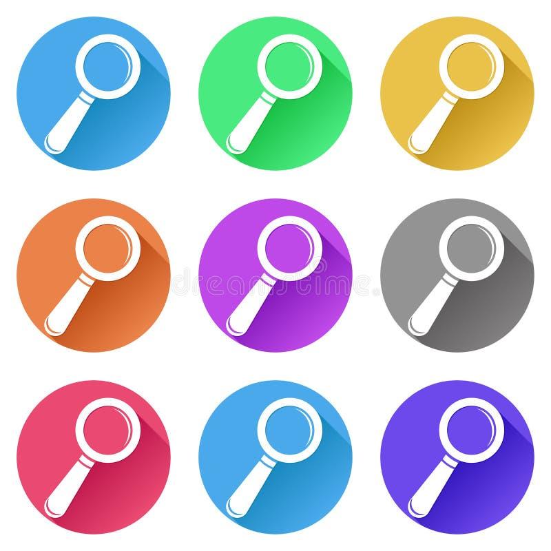 Zoek of vindt pictogrammen Reeks gekleurde tekens royalty-vrije illustratie