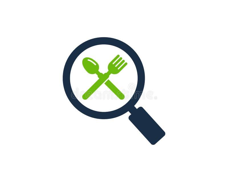 Zoek vindt Voedselpictogram Logo Design Element vector illustratie