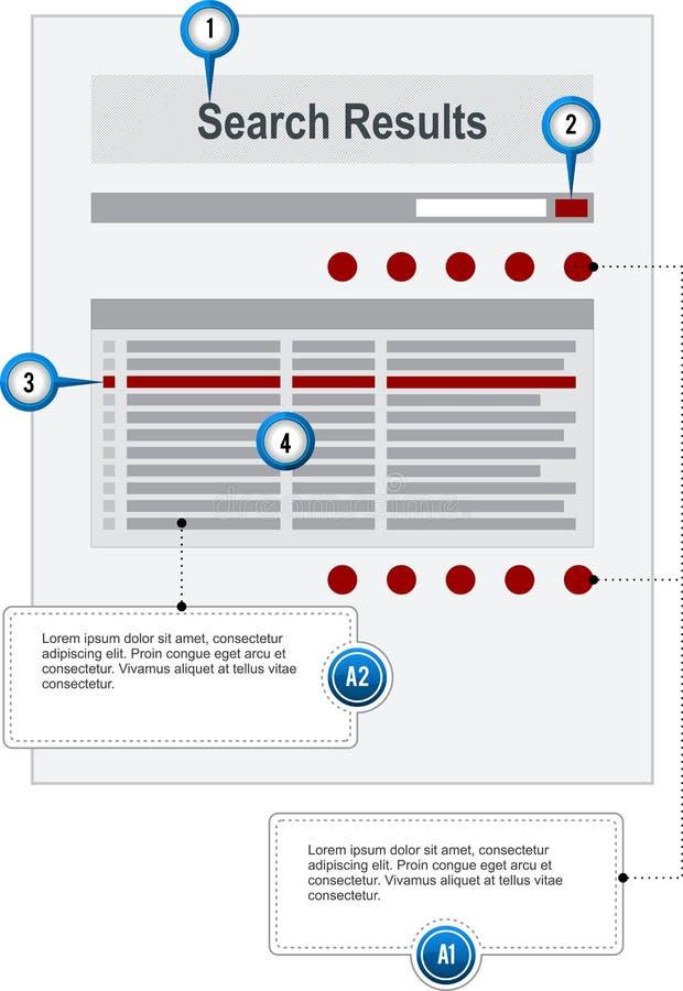 Zoek vloeit Internet-Web-pagina Wireframe Structu voort royalty-vrije illustratie