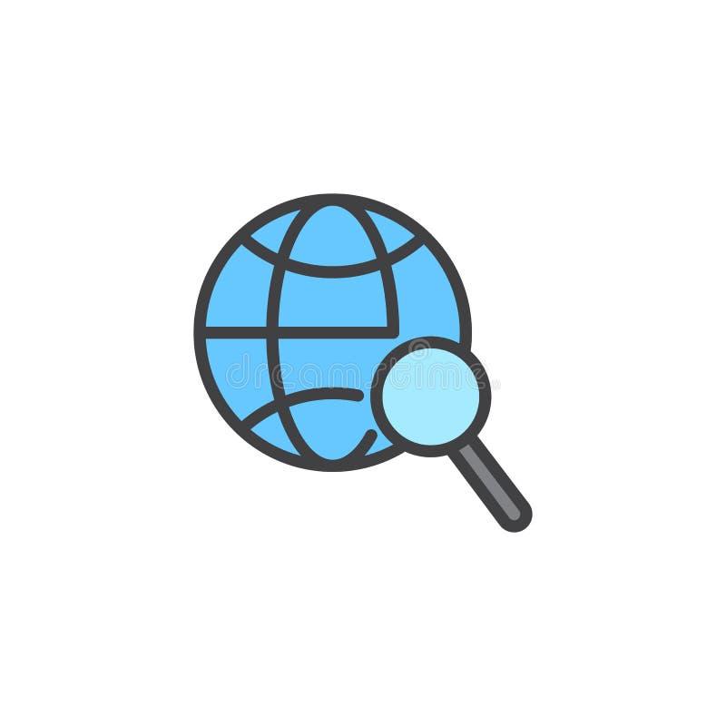 Zoek vulde wereldwijd overzichtspictogram royalty-vrije illustratie