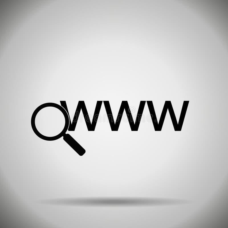 Zoek in Webpictogram vector illustratie