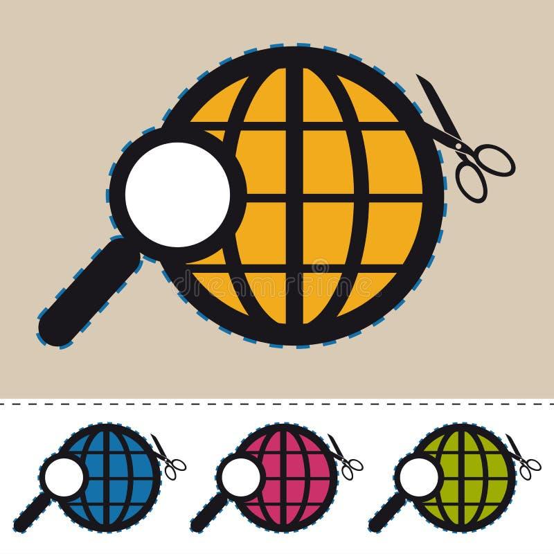 Zoek in World Wide Web - Kleurrijke VectordiePictogrammen - op Wit worden geïsoleerd vector illustratie