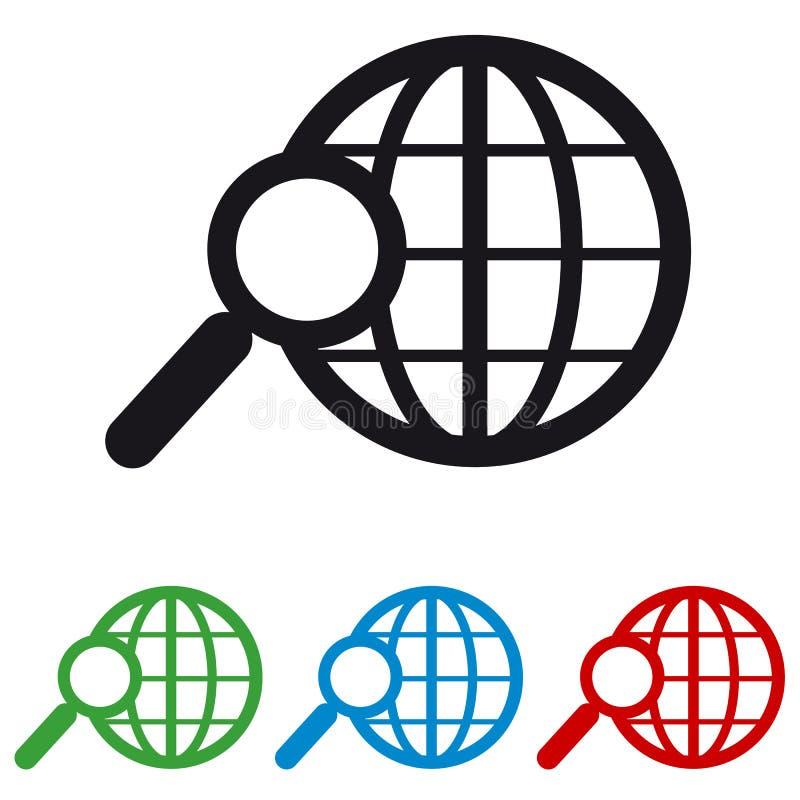 Zoek in World Wide Web - Kleurrijke Vectorpictogrammen vector illustratie