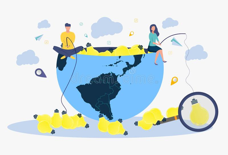 Zoeken voor een creatief idee De metafoor van succesvolle zaken De mensen vangen de aas gloeilampen vector illustratie