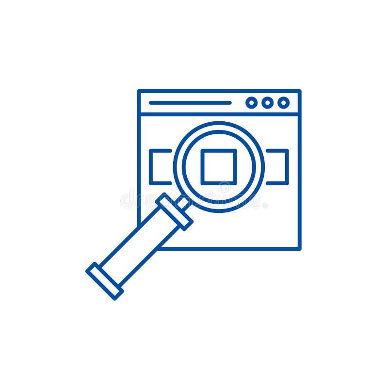 Zoeken voor producten op het het pictogramconcept van de plaatslijn Zoeken voor producten op het plaats vlakke vectorsymbool, tek vector illustratie