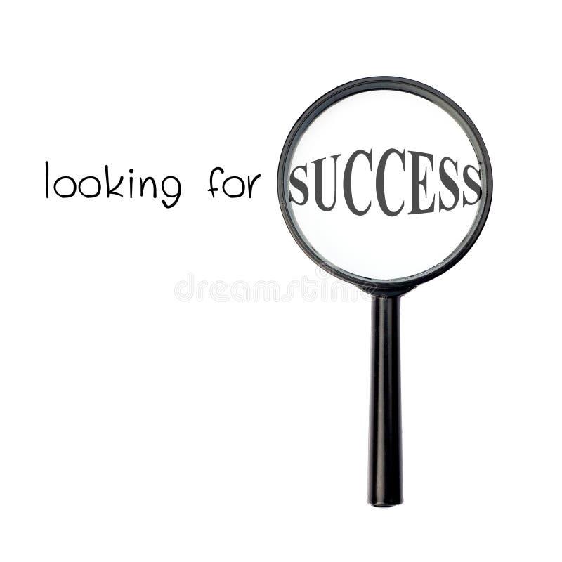 Zoekend succes met overdrijf glas royalty-vrije stock afbeelding
