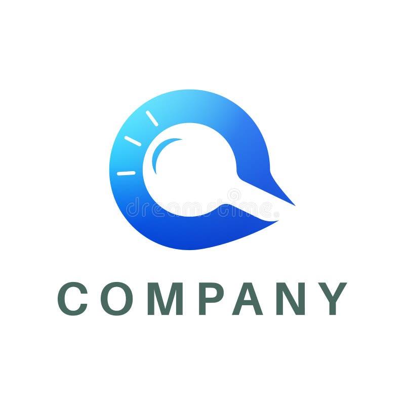 Zoekenembleem in de vorm van een blauwe brief Q, stock illustratie