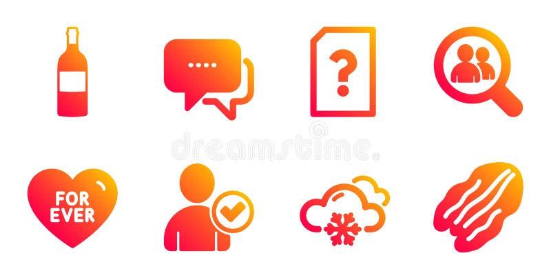 Zoekenwerknemers, Identiteit en voor ooit geplaatste die pictogrammen wordt bevestigd Sneeuwweer, Onbekende dossier en Berichttek vector illustratie
