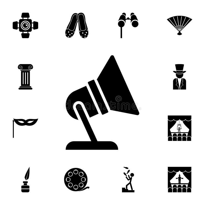 zoeklichtpictogram Gedetailleerde reeks theaterpictogrammen Premie grafisch ontwerp Één van de inzamelingspictogrammen voor websi royalty-vrije illustratie