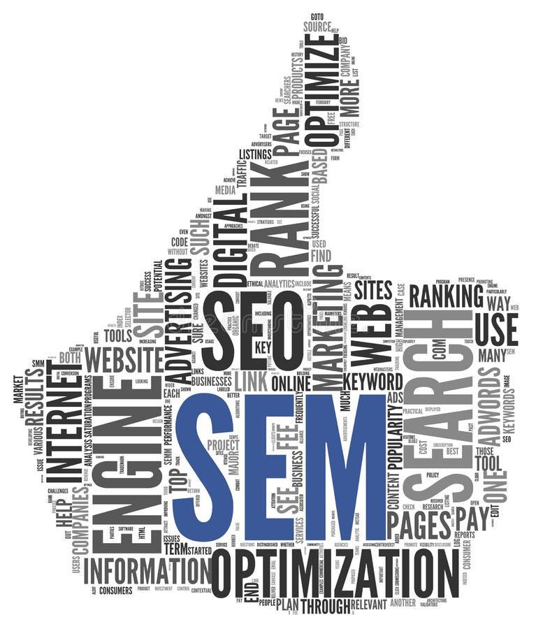 Zoekmachine die SEM-concept op de markt brengen vector illustratie