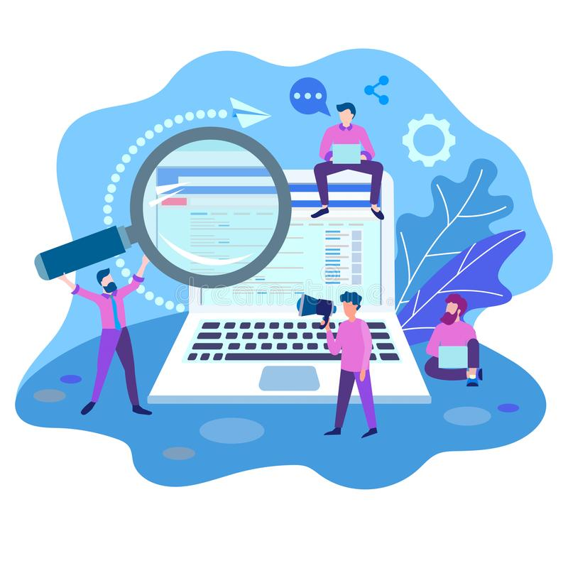 Zoekmachineoptimalisering, het teamwerk op websitebevordering royalty-vrije illustratie