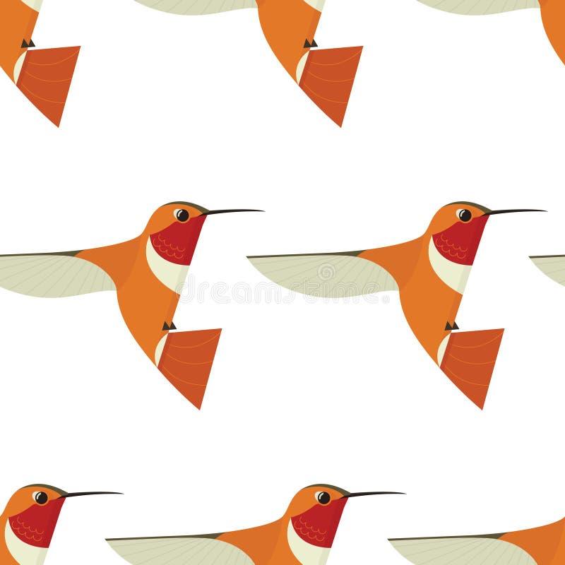 Zoemend Geometrisch het beeldverhaal vlak Vectorillustratie Gestileerd dierlijk Naadloos patroon van het vogelpictogram vector illustratie