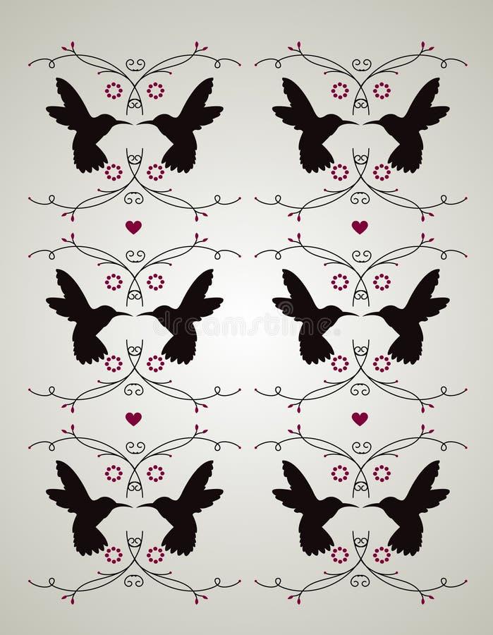 Zoemende vogel en bloemenpatroon royalty-vrije stock afbeelding