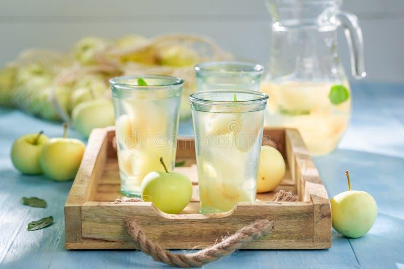 Zoet appelsap met appelen en munt royalty-vrije stock foto's